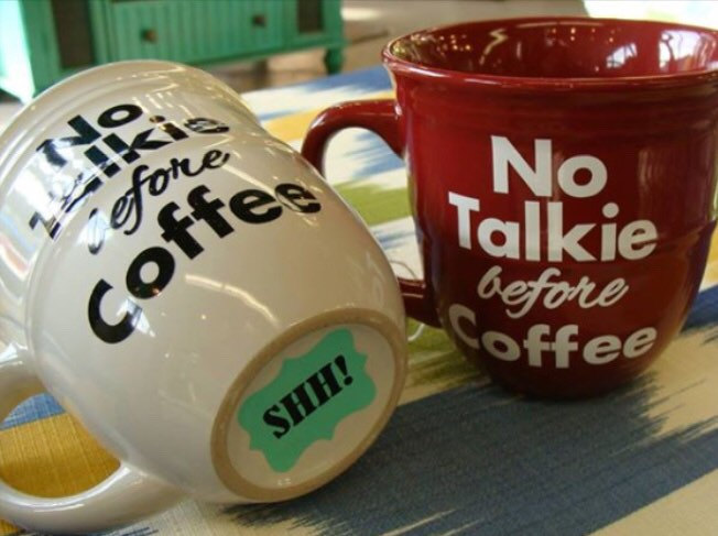 No talking before coffee mug