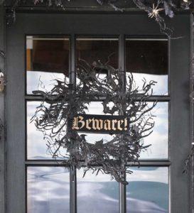 beware halloween wreath