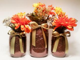 fall flower mason jar centerpieces