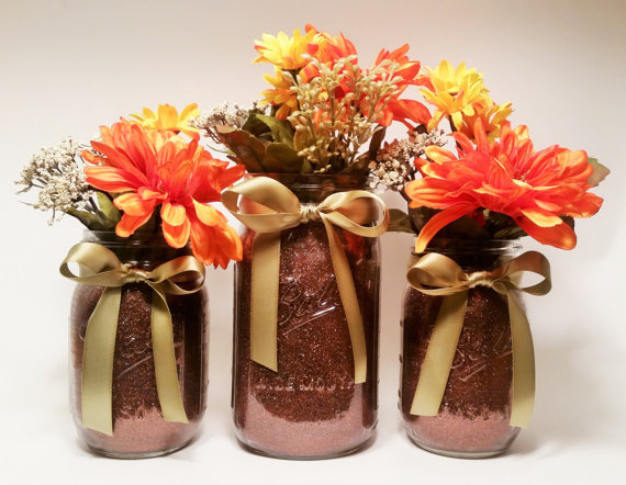 fall flower mason jar centerpieces
