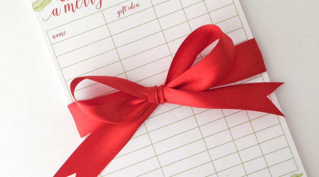 Christmas shopping lists