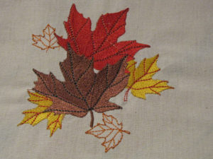 embroidered leaf table runner