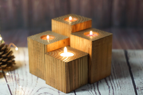 wood tea light holders