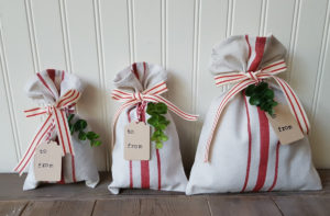 fabric bags used as gift wrap