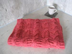 pink knit shawl
