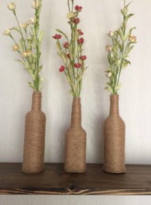 twine wrapped vases
