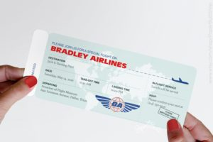 plane ticket card for a sweet sixteen gift
