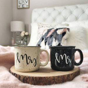 Mr. and Mrs. mugs to fill out empty kitchen cupboards | Image courtesy Etsy seller LucySuiSF