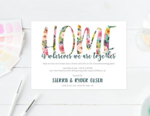 invites and housewarming gifts