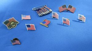 Fourth of July lapel pins.