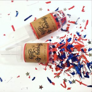 Confetti poppers for Fourth of July.