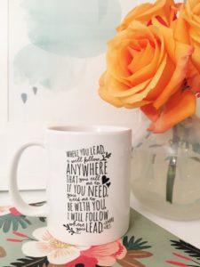 Coffee mug with Gilmore Girls theme song lyrics