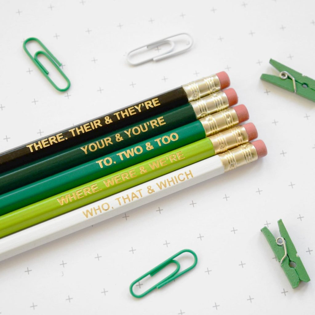set of pencils with grammar suggestions