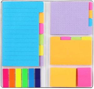 sticky notepad set in bright colors