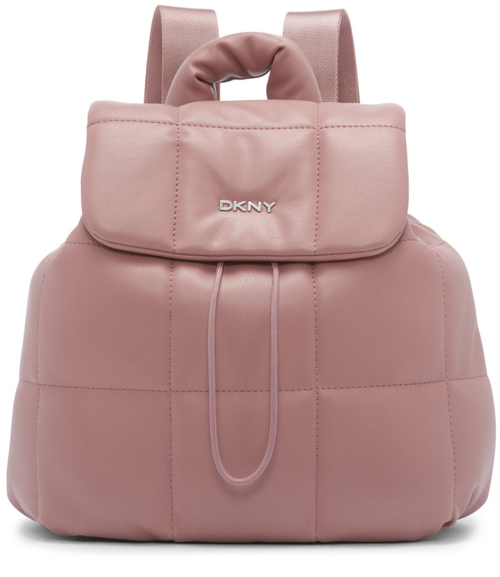 pink faux leather backpack